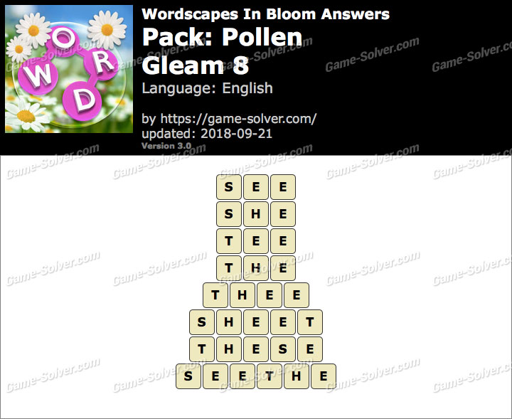 Wordscapes In Bloom Pollen-Gleam 8 Answers