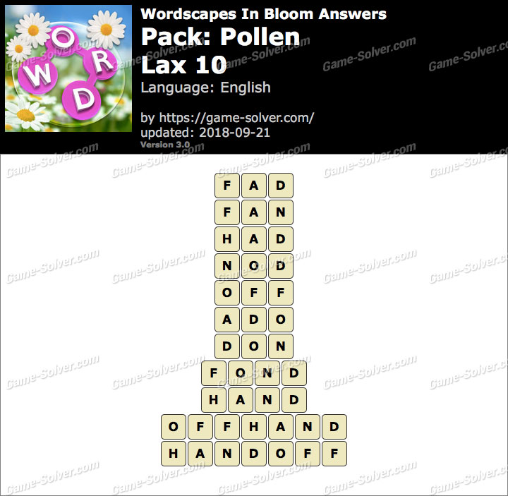 Wordscapes In Bloom Pollen-Lax 10 Answers