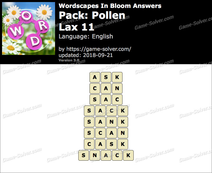 Wordscapes In Bloom Pollen-Lax 11 Answers