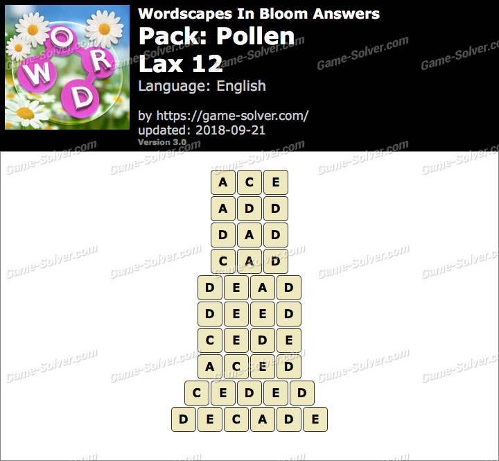Wordscapes In Bloom Pollen-Lax 12 Answers