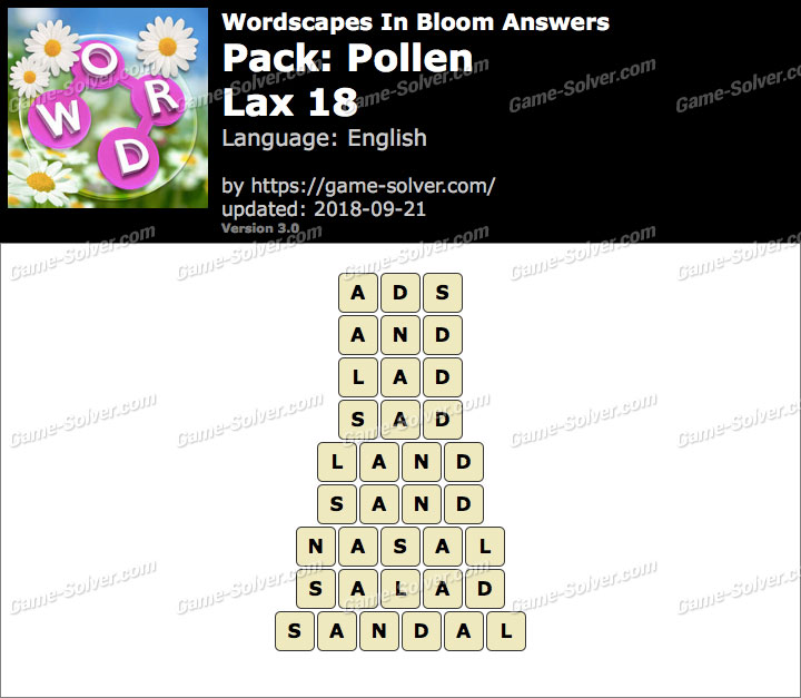 Wordscapes In Bloom Pollen-Lax 18 Answers