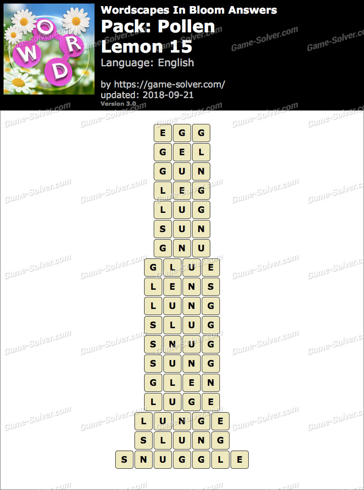 Wordscapes In Bloom Pollen-Lemon 15 Answers