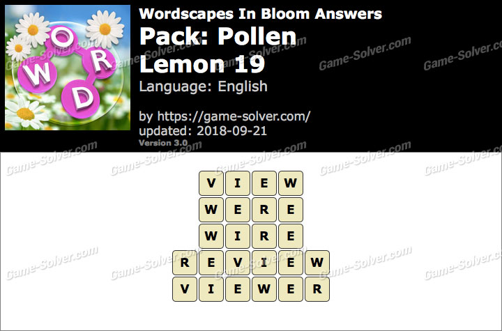 Wordscapes In Bloom Pollen-Lemon 19 Answers
