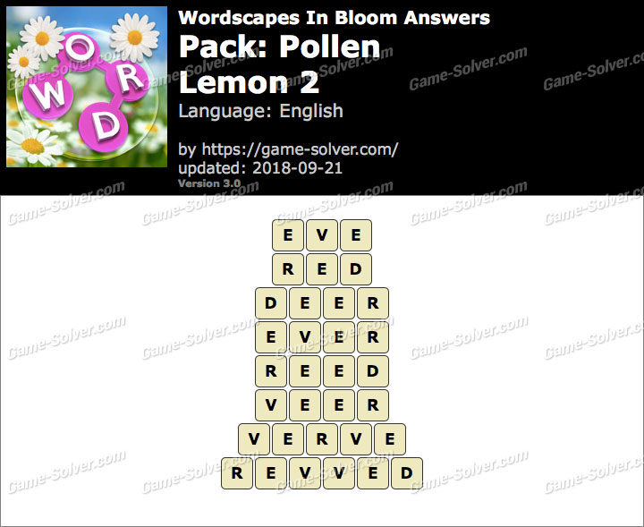 Wordscapes In Bloom Pollen-Lemon 2 Answers