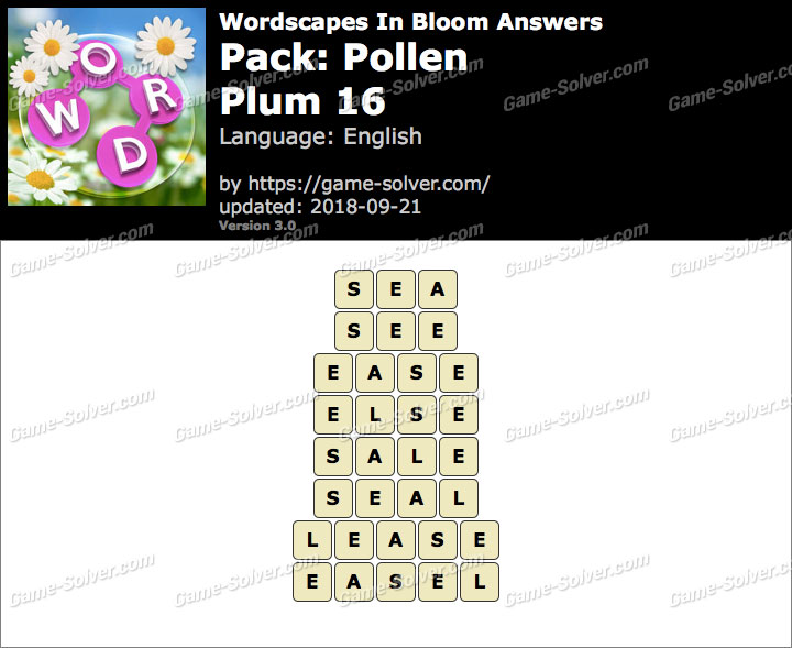 Wordscapes In Bloom Pollen-Plum 16 Answers