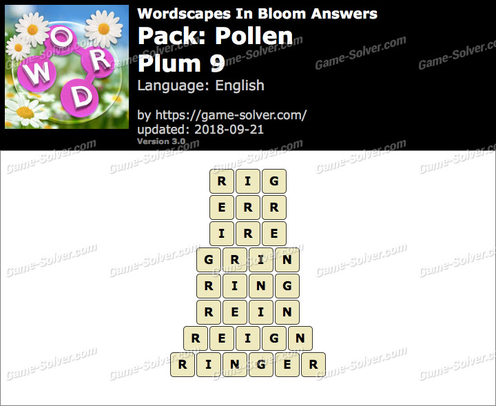 Wordscapes In Bloom Pollen-Plum 9 Answers