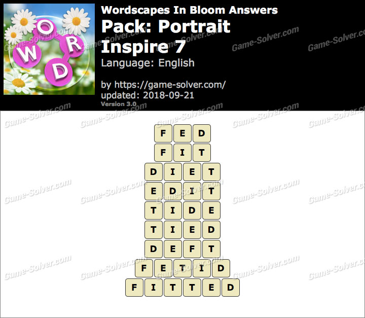 Wordscapes In Bloom Portrait-Inspire 7 Answers