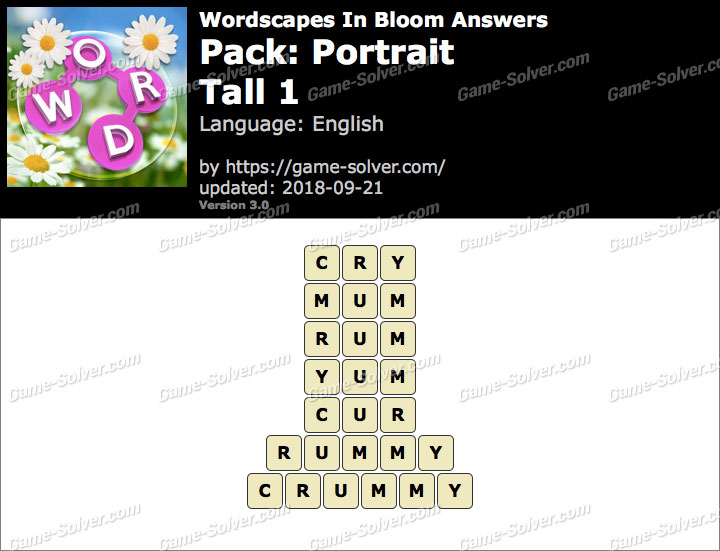 Wordscapes In Bloom Portrait-Tall 1 Answers