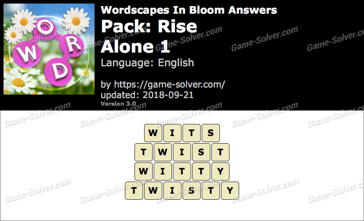 Wordscapes In Bloom Rise-Alone 1 Answers