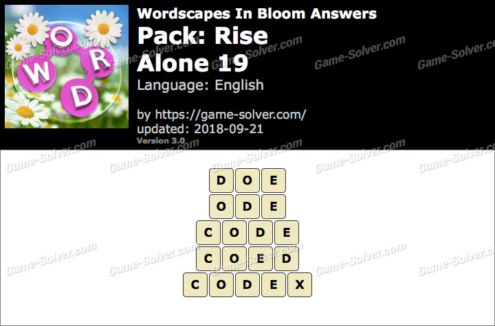 Wordscapes In Bloom Rise-Alone 19 Answers