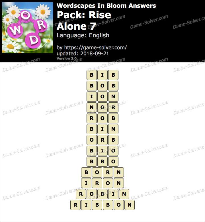 Wordscapes In Bloom Rise-Alone 7 Answers