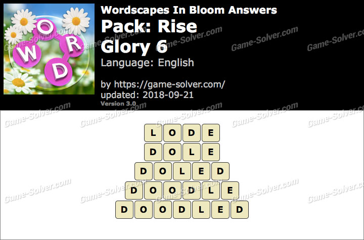 Wordscapes In Bloom Rise-Glory 6 Answers