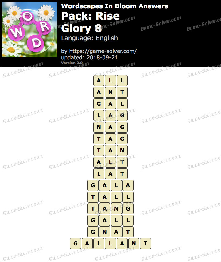 Wordscapes In Bloom Rise-Glory 8 Answers