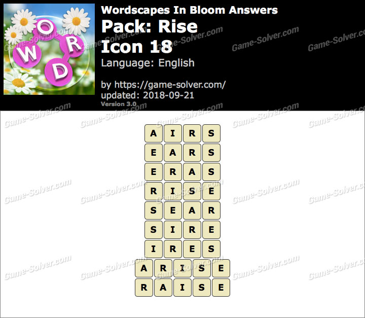 Wordscapes In Bloom Rise-Icon 18 Answers