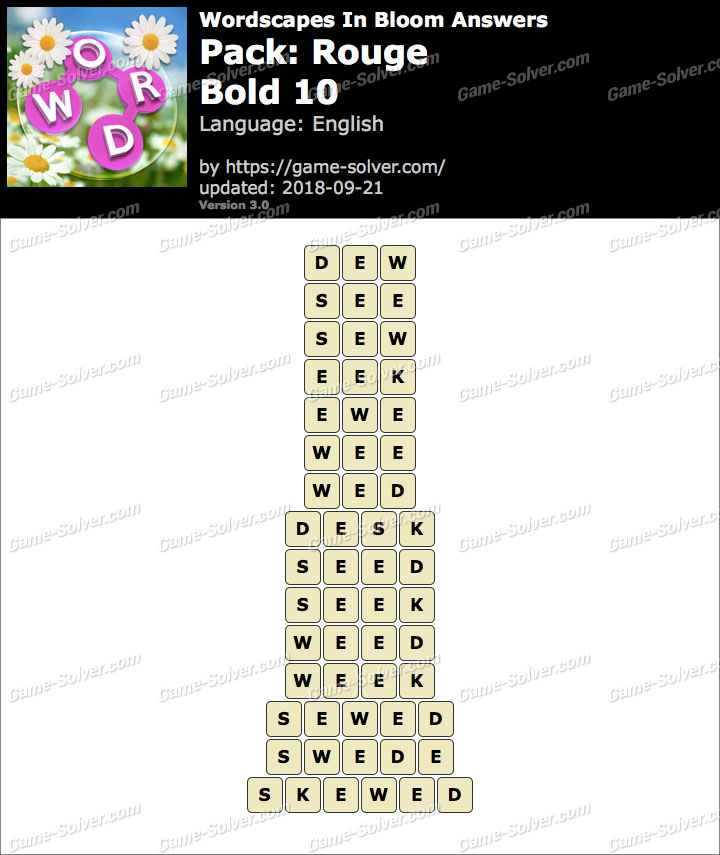 Wordscapes In Bloom Rouge-Bold 10 Answers