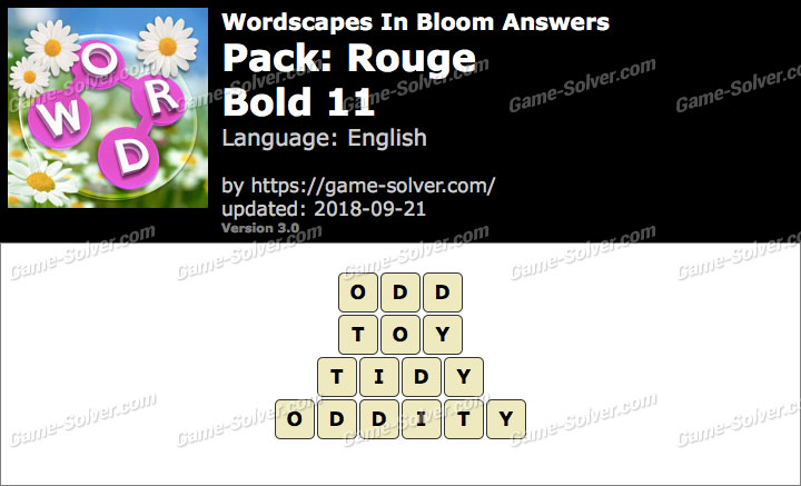 Wordscapes In Bloom Rouge-Bold 11 Answers