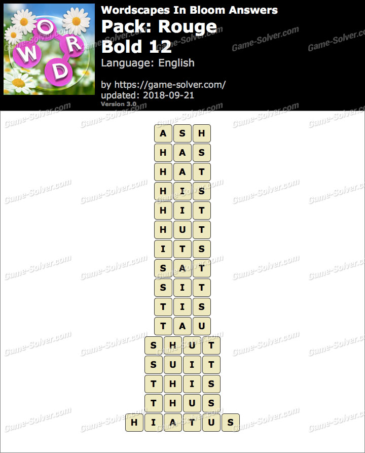 Wordscapes In Bloom Rouge-Bold 12 Answers