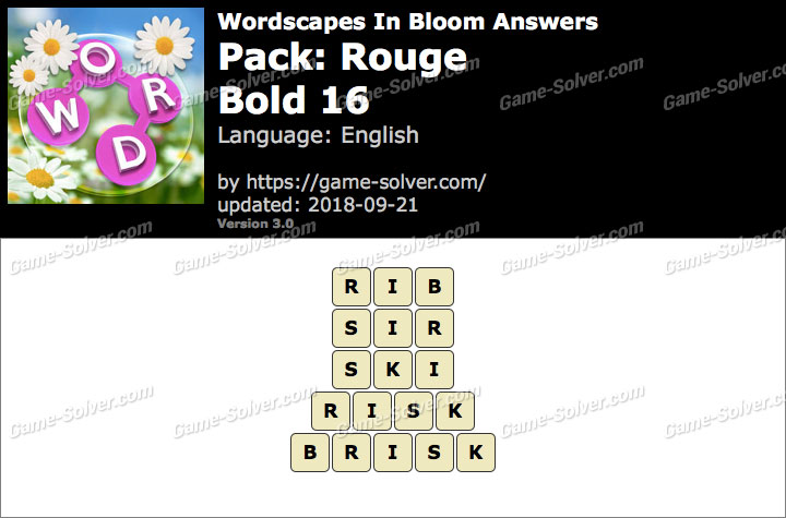Wordscapes In Bloom Rouge-Bold 16 Answers