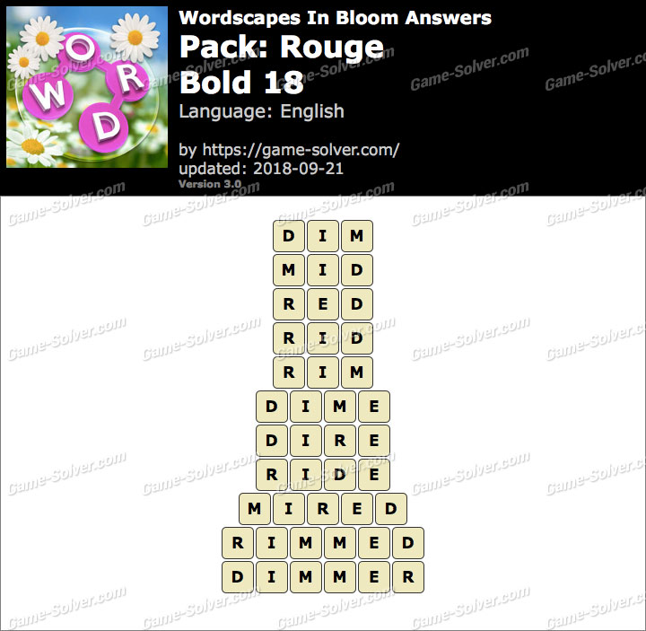 Wordscapes In Bloom Rouge-Bold 18 Answers