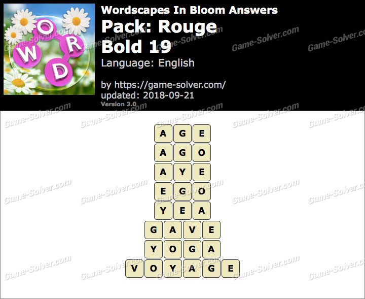 Wordscapes In Bloom Rouge-Bold 19 Answers