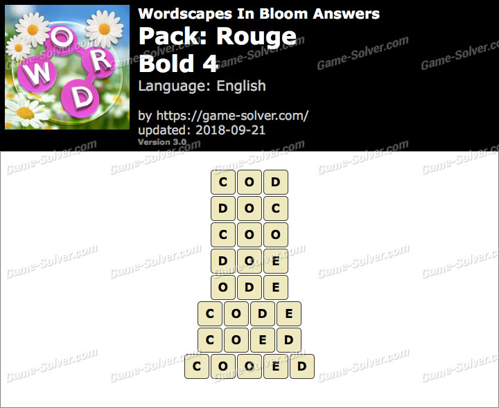 Wordscapes In Bloom Rouge-Bold 4 Answers