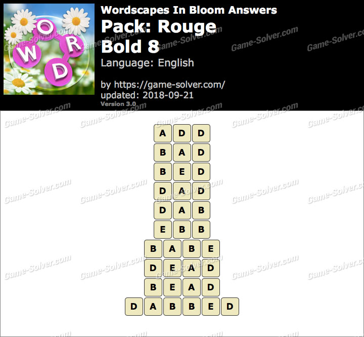 Wordscapes In Bloom Rouge-Bold 8 Answers