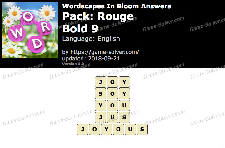 Wordscapes In Bloom Rouge-Bold 9 Answers