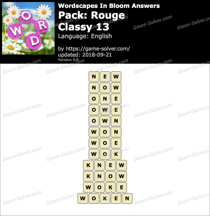 Wordscapes In Bloom Rouge-Classy 13 Answers