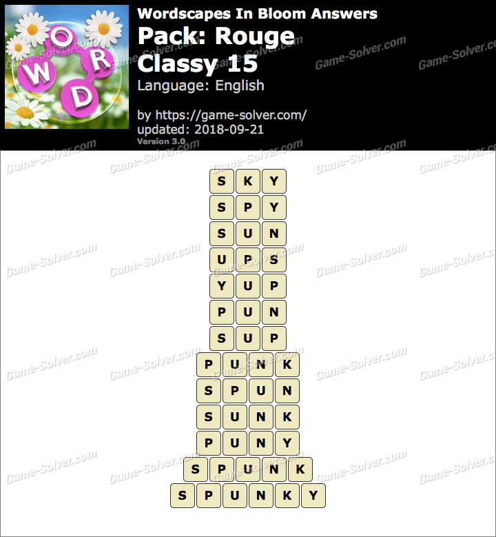 Wordscapes In Bloom Rouge-Classy 15 Answers