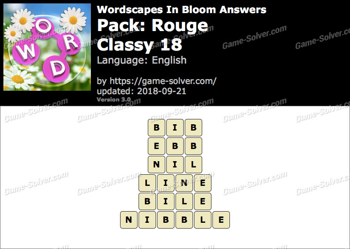 Wordscapes In Bloom Rouge-Classy 18 Answers