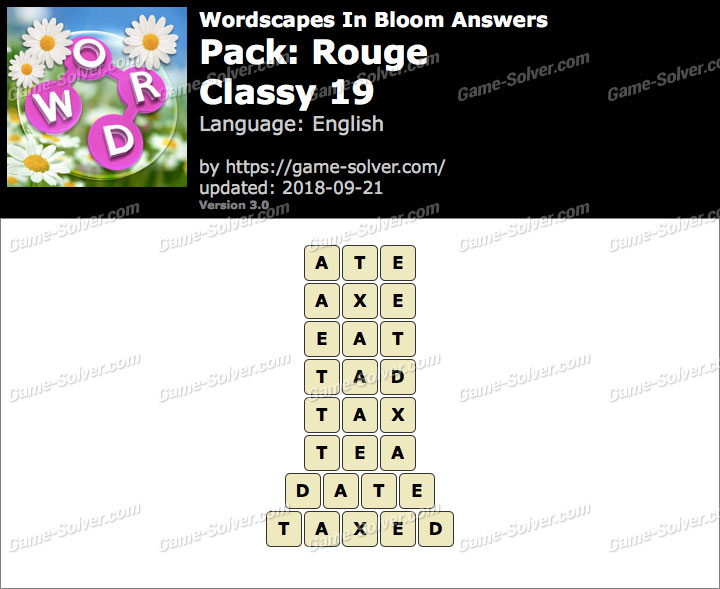 Wordscapes In Bloom Rouge-Classy 19 Answers