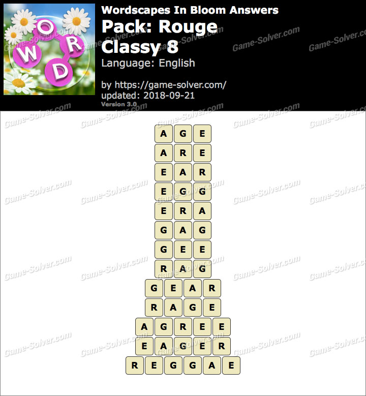 Wordscapes In Bloom Rouge-Classy 8 Answers