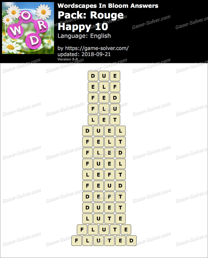 Wordscapes In Bloom Rouge-Happy 10 Answers