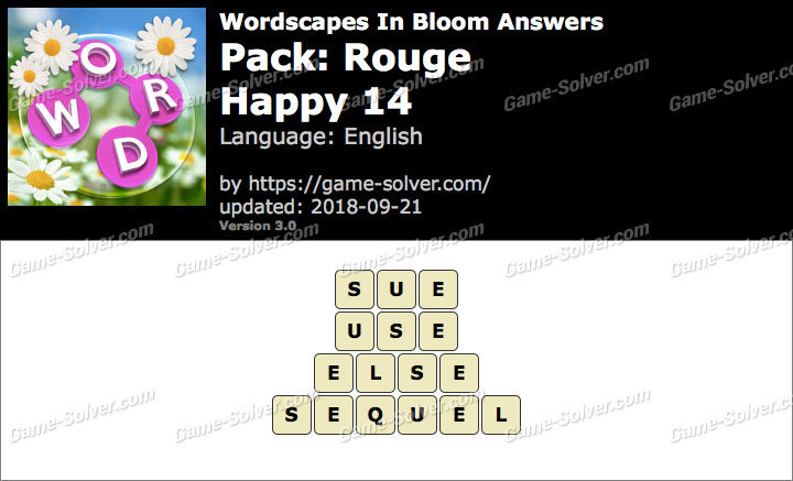 Wordscapes In Bloom Rouge-Happy 14 Answers