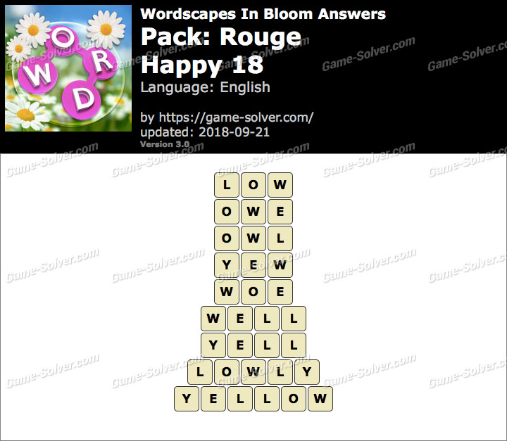 Wordscapes In Bloom Rouge-Happy 18 Answers