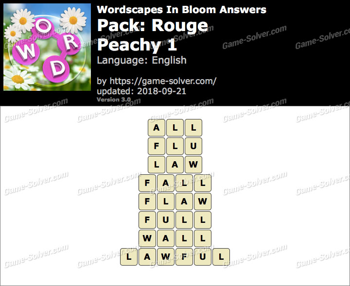 Wordscapes In Bloom Rouge-Peachy 1 Answers