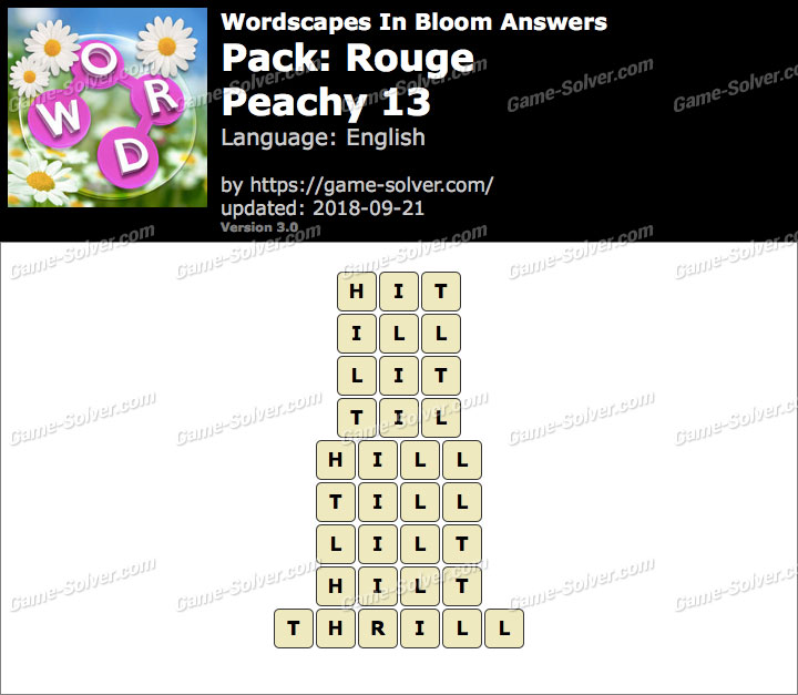Wordscapes In Bloom Rouge-Peachy 13 Answers