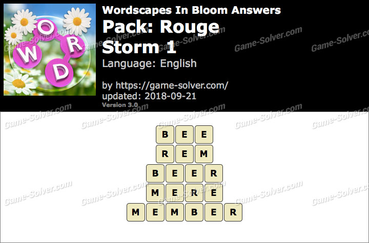 Wordscapes In Bloom Rouge-Storm 1 Answers