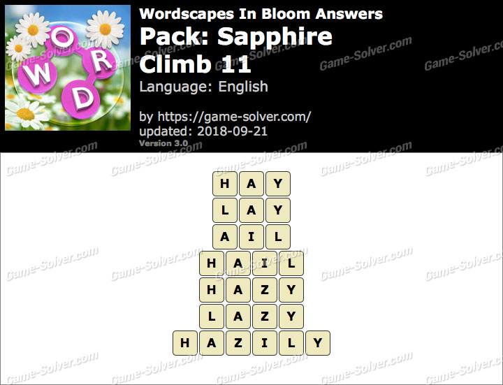 Wordscapes In Bloom Sapphire-Climb 11 Answers