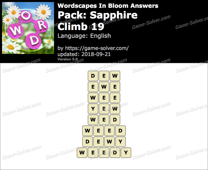 Wordscapes In Bloom Sapphire-Climb 19 Answers
