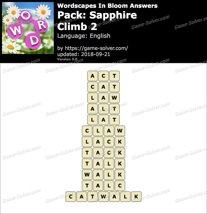 Wordscapes In Bloom Sapphire-Climb 2 Answers