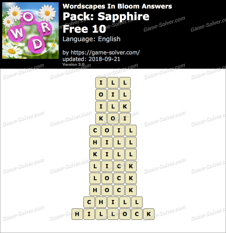 Wordscapes In Bloom Sapphire-Free 10 Answers