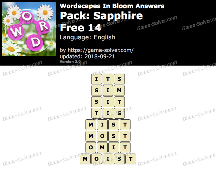 Wordscapes In Bloom Sapphire-Free 14 Answers