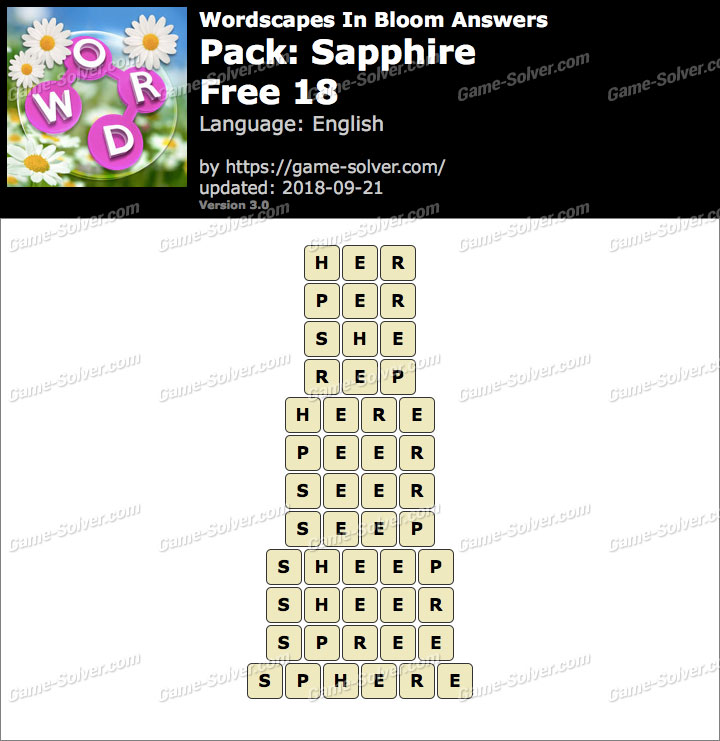 Wordscapes In Bloom Sapphire-Free 18 Answers