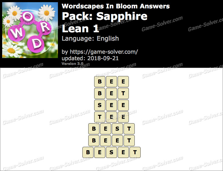 Wordscapes In Bloom Sapphire-Lean 1 Answers