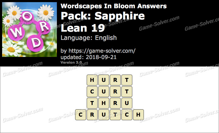 Wordscapes In Bloom Sapphire-Lean 19 Answers