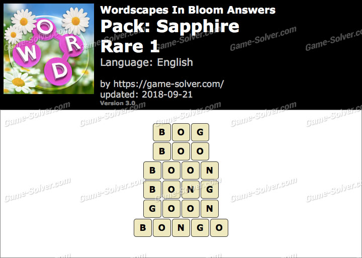 Wordscapes In Bloom Sapphire-Rare 1 Answers