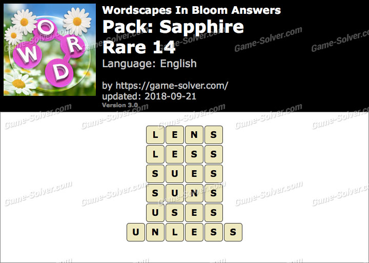 Wordscapes In Bloom Sapphire-Rare 14 Answers