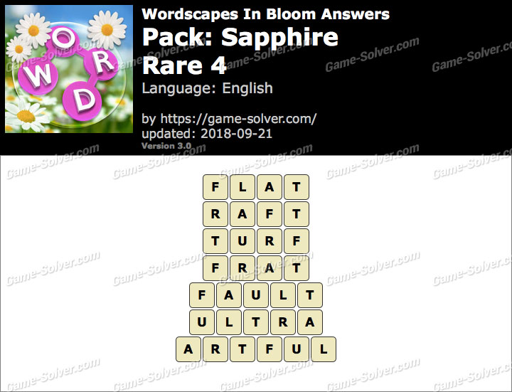 Wordscapes In Bloom Sapphire-Rare 4 Answers