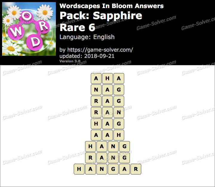 Wordscapes In Bloom Sapphire-Rare 6 Answers